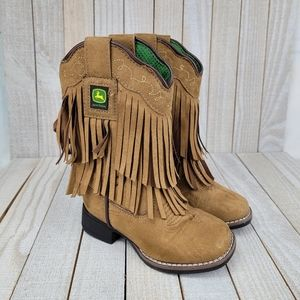 John Deere Tassled Cowboy Boots Childrens Size 8